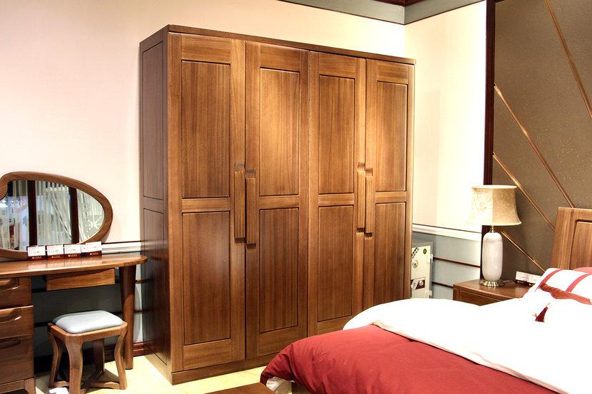 光明家具榆木现代中式四门衣柜14509元