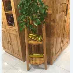 宏达实木家具 原木三层花架