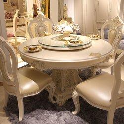 鸿亚博伦旗下品牌 宫廷名匠 528款圆桌+边椅(白加银)