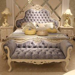 鸿亚博伦旗下品牌 宫廷名匠 582D床+床头柜(白加银)