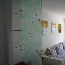 绿叶,艺术玻璃屏风