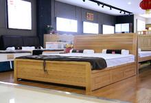 凤阳榉木箱体双人床+超薄床垫 特价7100元/套