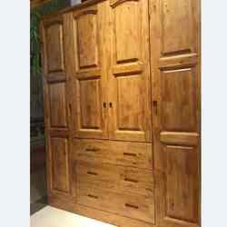 宏达实木家具 四门三屉衣柜